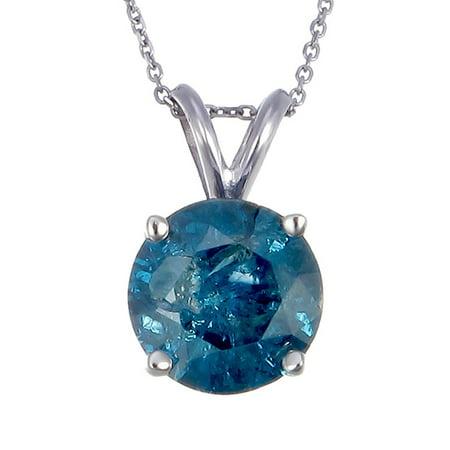 Vir Jewels 1/2 cttw Blue Diamond Solitaire Pendant Necklace 14K White Gold Blue Topaz Solitaire Pendant