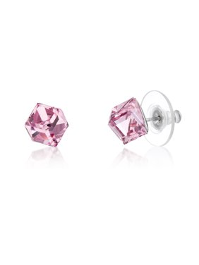 f72f6154a Product Image Lesa Michele Women's Faceted Crystal Cubed Stud Earrings in  Stainless Steel Made With Swarovski Crystals (