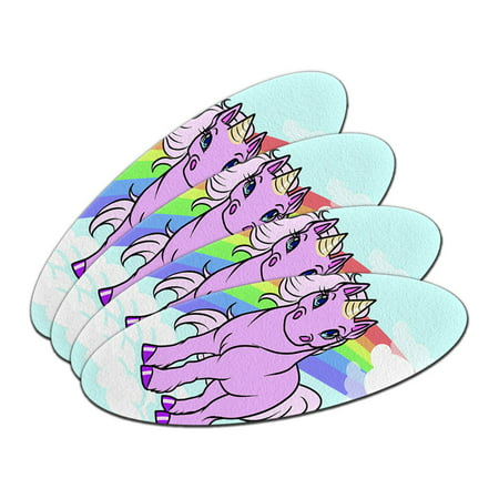 Cute Pink Unicorn On Rainbow And Cloud Oval Nail File Emery Board 4 Pack (Rainbow Nail File)