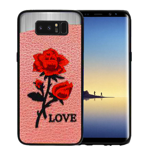Red Love Roses Pink Embroidery Texture Case For Samsung Galaxy Note 8 Phone