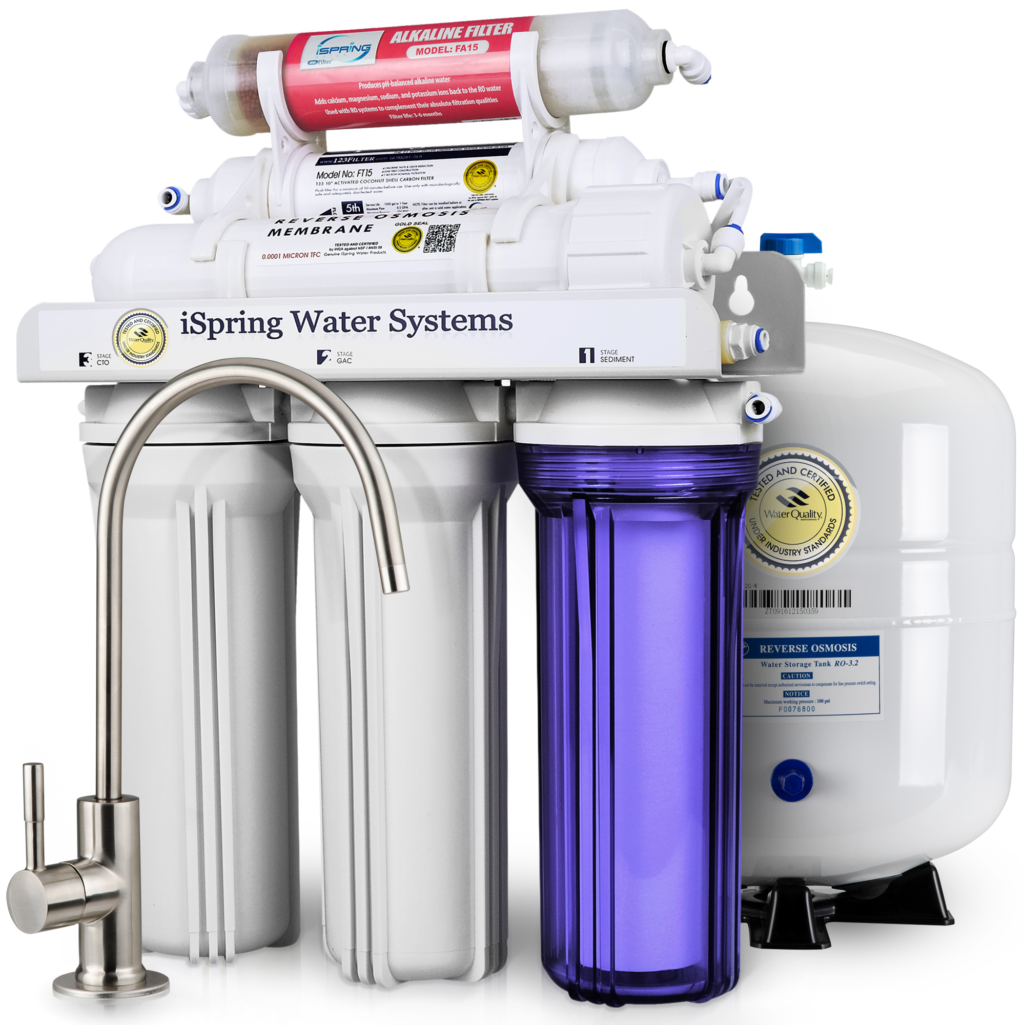 iSpring Reverse Osmosis Water Filter System w/ Alkaline Mineral Stage - 75GPD 6-stage RCC7AK with Designer Faucet