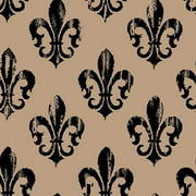 "Springs Creative Burlap Prints Rustic Fleur De Lis, Black, 47/48"" Wide, Fabric By the Yard"