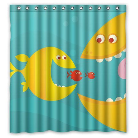 HelloDecor Big Fish Eat Small Fishes Shower Curtain Polyester Fabric Bathroom Decorative Size 60x72 Inches
