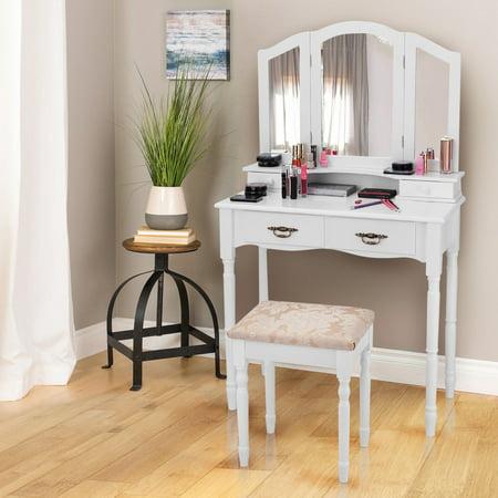 Costway White Tri Folding Mirror Vanity Makeup Table Stool