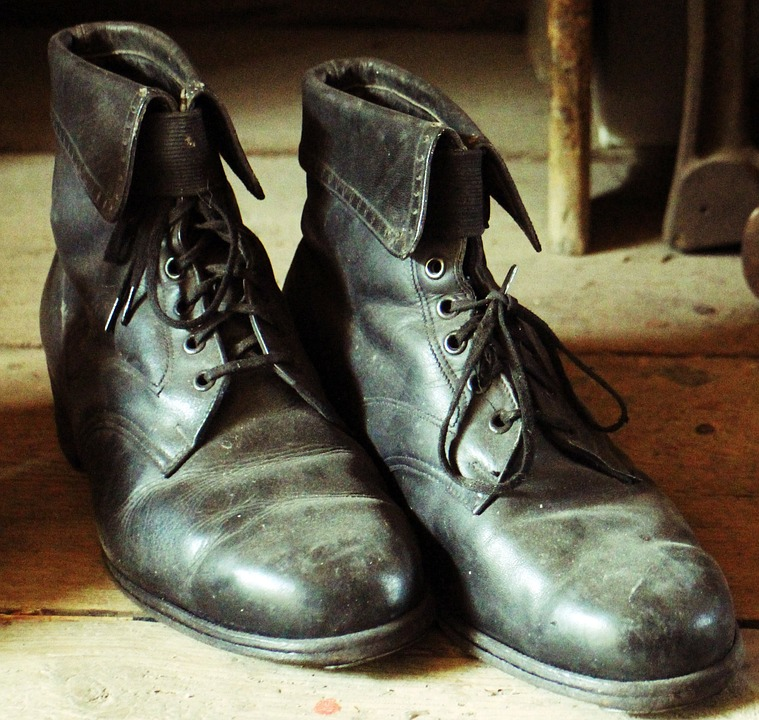 Canvas Print Old Shoes Black Leather Shoes Leather Boots Stretched Canvas 10 x 14