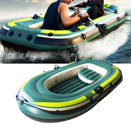 Yosoo Inflatable Fishing Boat,Green PVC Inflatable Three Person Rowing Air Boat Fishing Drifting Diving Tool,Inflatable Kayak ()