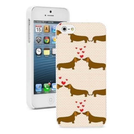 Love Protector Case (Apple iPhone 6 6s Hard Color Back Case Cover Protector Dachshund Couple in Love (White) )