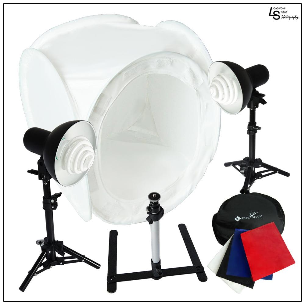 """24"""" CFL Photo Tent Cube Box Lighting Kit with 2x 30W Lights, 1x Camera Tripod, 2x Mini Stands, 4x Backdrops by Loadstone Studio WMLS0042"""