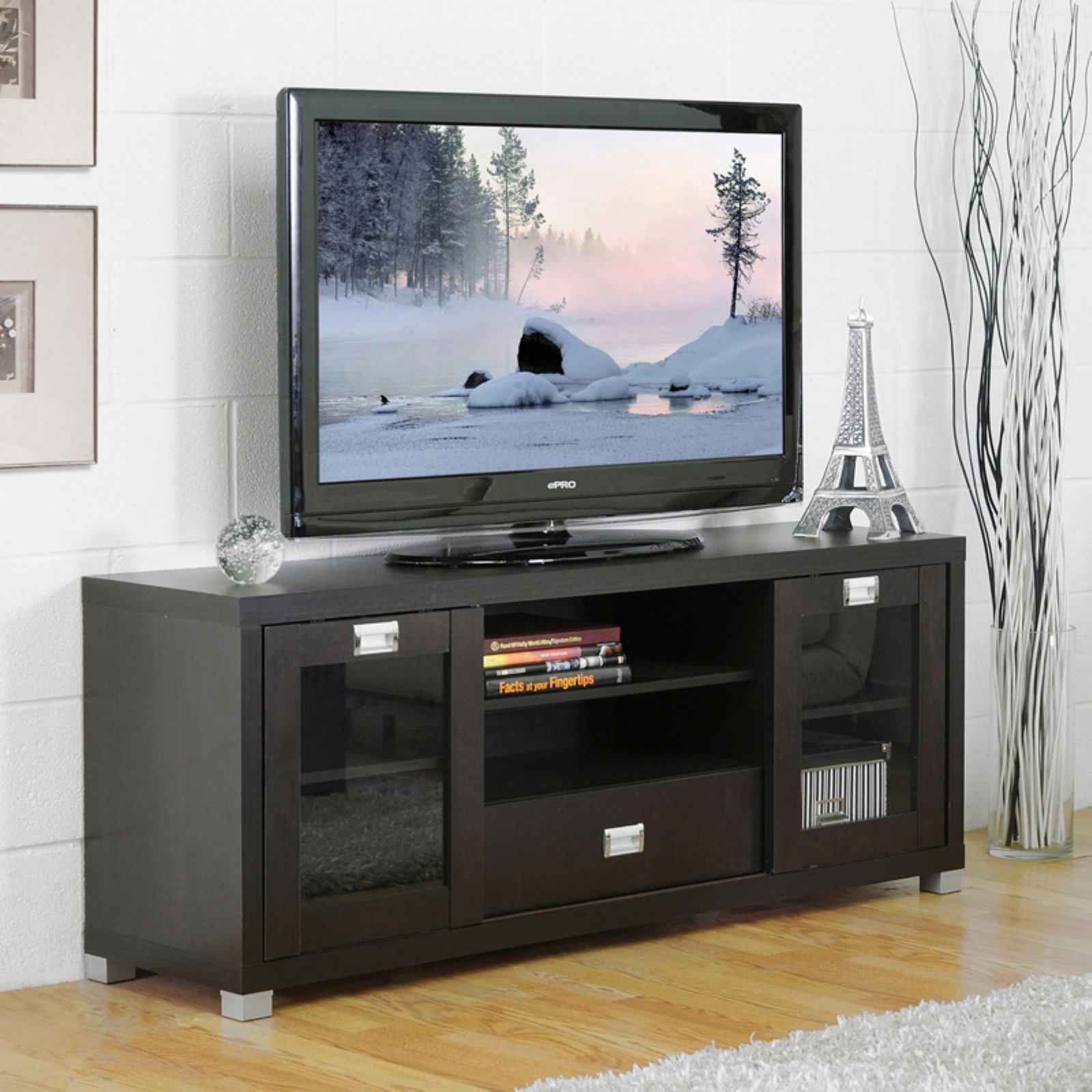 Baxton Studio Matlock Modern Espresso Tv Stand With Glass Doors
