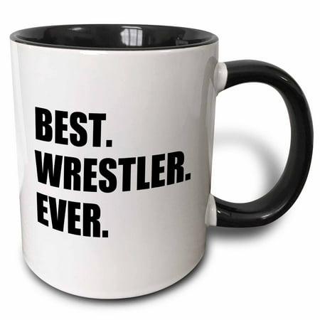 3dRose Best Wrestler Ever, fun wrestling sport gift, black and white text - Two Tone Black Mug,