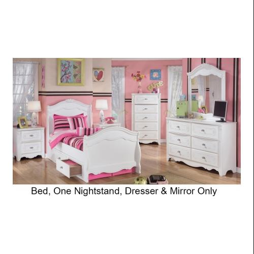 Signature Design by Ashley  B188212662N63N82N92 Exquisite Collection 4 Piece Bedroom Set with Twin Size Sleigh Bed +