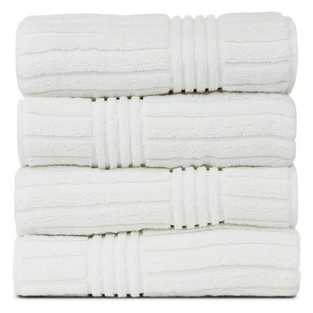 Luxury Hotel & Spa Towel 100% Genuine Turkish Cotton Bath Towels - White - Striped - Set of