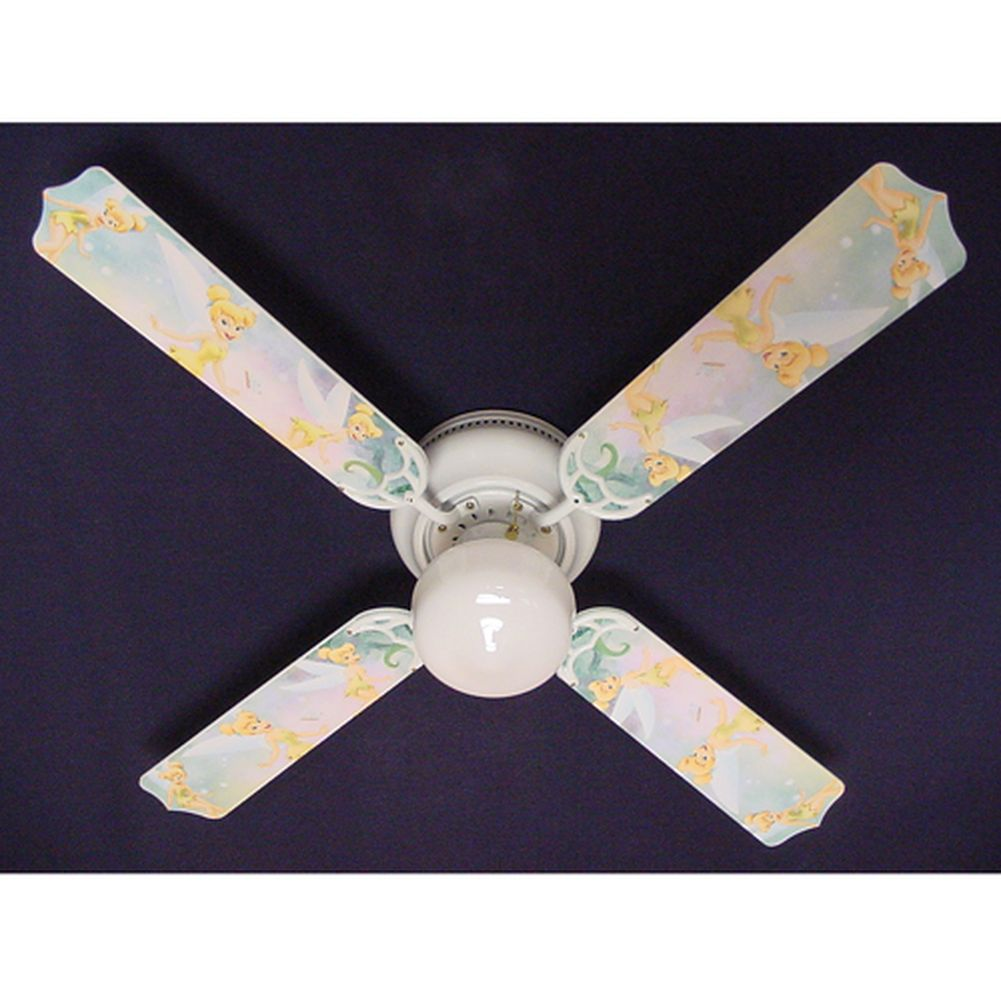 Ceiling Fan Designers Light Green Disney Tinkerbelle Prin...
