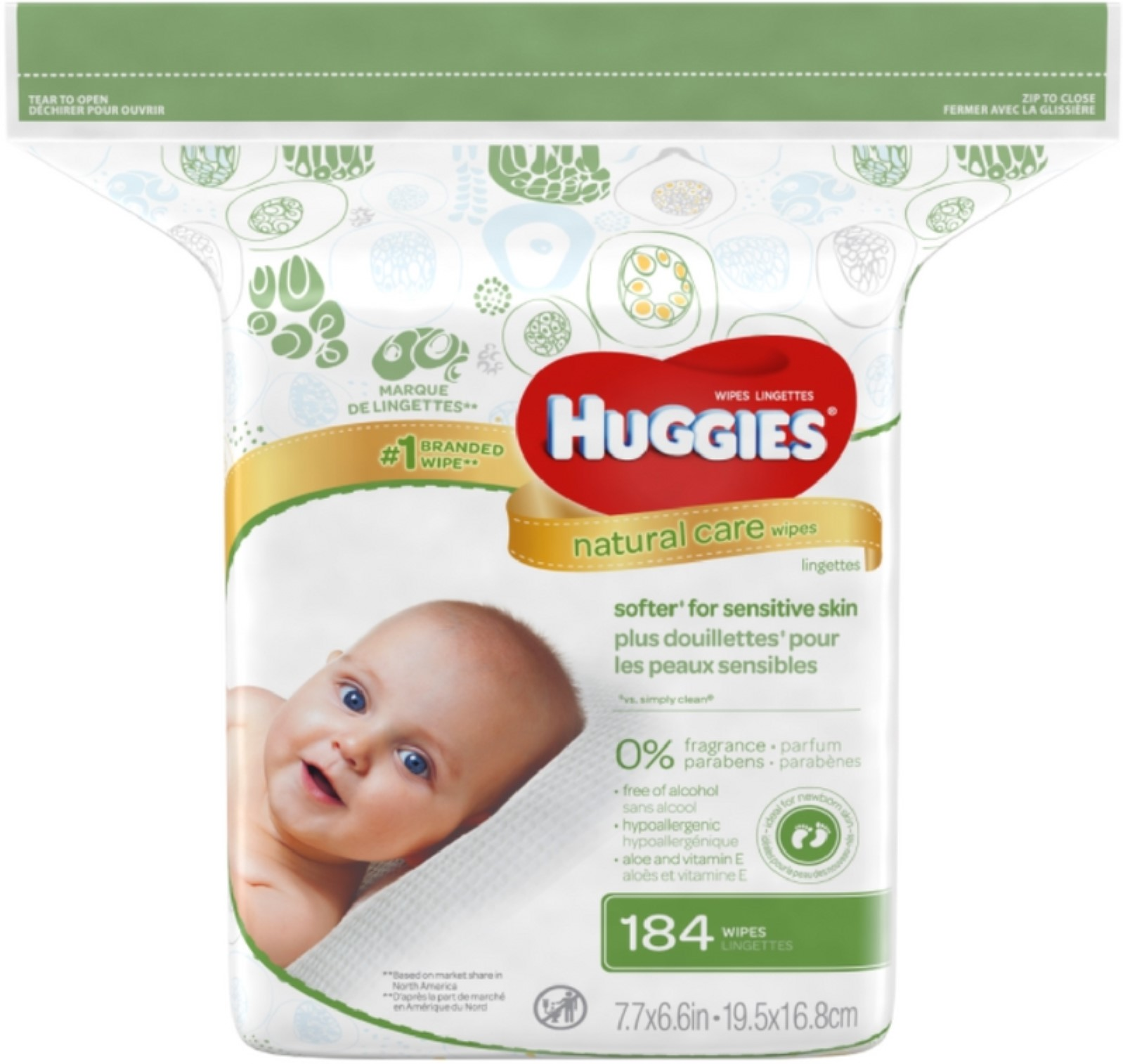 6 Pack Huggies Natural Care Fragrance-Free Wipes 184 ea by HUGGIES