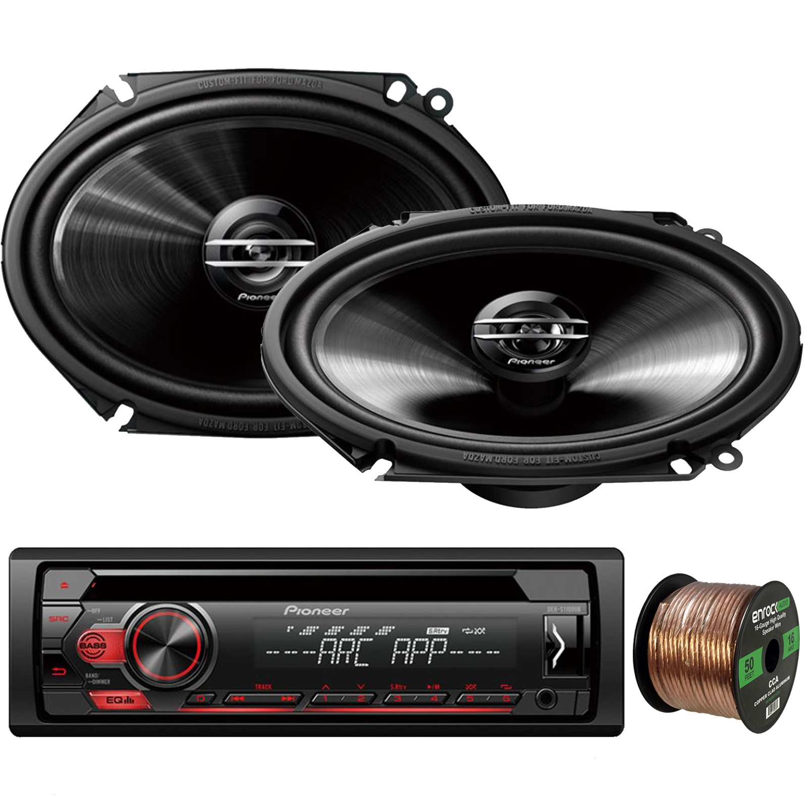 "Pioneer DEH-S1100UB Single-DIN CD Player AM/FM Car Stereo Receiver, 2 x Pioneer G-Series Car Audio 6x8"" 250W 2-Way Car Speakers, Enrock Audio 16-Gauge 50Ft. CCA Speaker Wire"