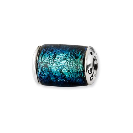 - Blue Dichroic Glass Barrel Sterling Silver Bead Charm