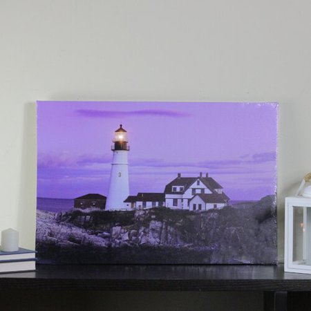 Northlight Seasonal LED Lighted Coastal Lighthouse Home with Purple Sunset Photographic Print on (Two Lights Lighthouse)