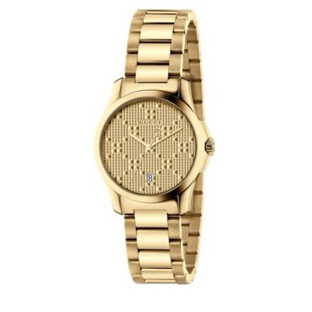 Gucci women 39 s 27mm gold tone steel bracelet case anti reflective sapphire swiss quartz watch for Anti reflective watches