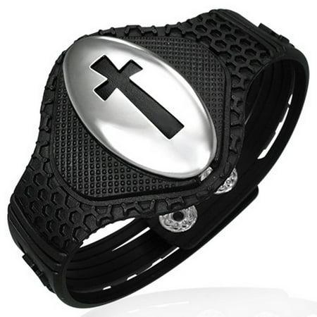 Stainless Steel Black Rubber Silicone Greek Key Cross Religious Snap Mens Bracelet
