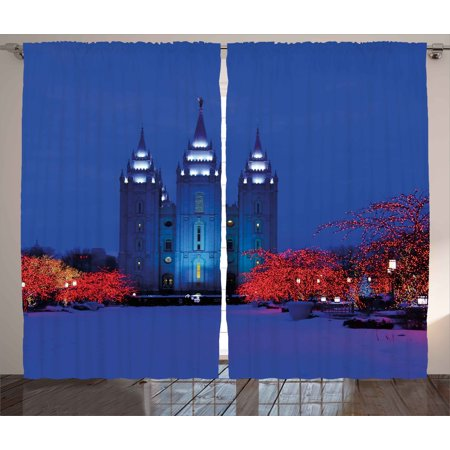 Lifestyle Curtains 2 Panels Set, Man with White Shirt Standing before Aerial City Scenery People Contact Artwork, Window Drapes for Living Room Bedroom, 108W X 90L Inches, Light Grey, by Ambesonne