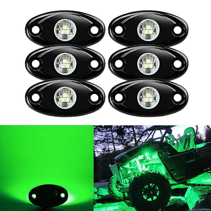 Partsam 8 Pods LED Rock Light Kits Compatible with Jeep TJ JK F150 F250 Truck Boat Lamp Camper RV ATV UTV RZR Ranger Yamaha Viking Teryx Mule Under Body Glow Footwell Fender Wheeler Yellow 8PCS