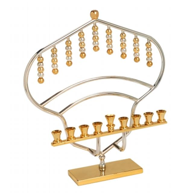 Giftmark M-1282 Modern Gold Plated Menorah With Brass Candle Holders And Brass Base