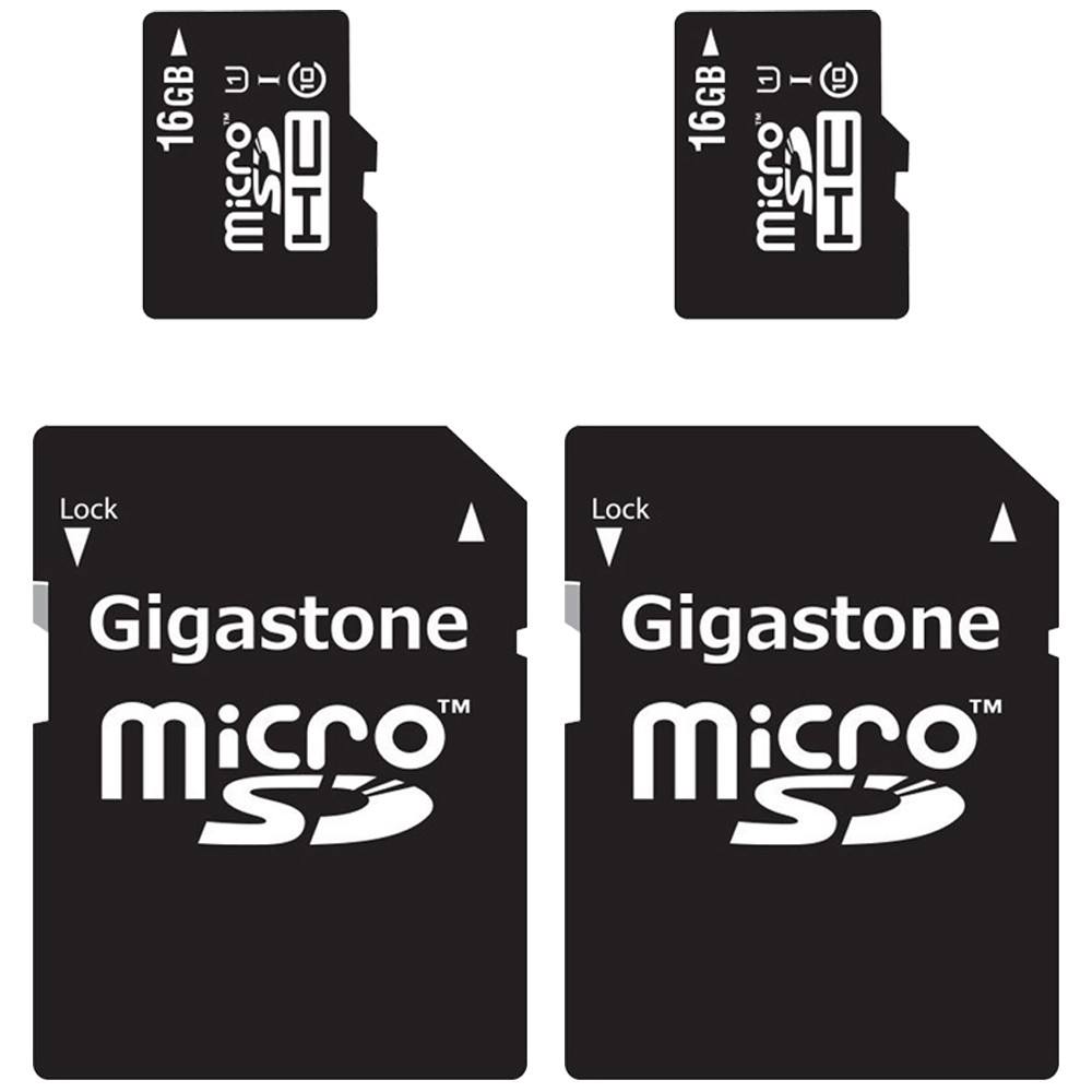 2-Packs Gigastone MicroSD HC 16GB C10 U1 With SD Adapter includes Bonus Instant Savings Coupon