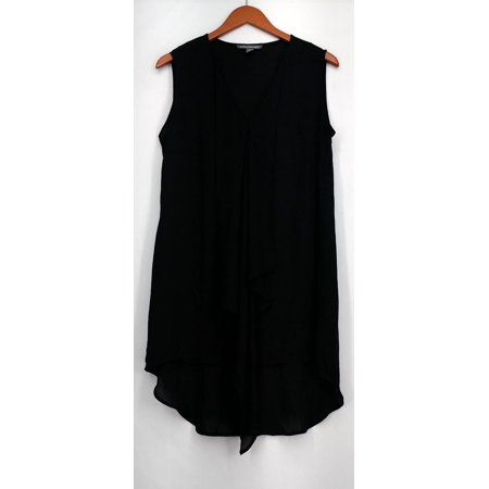Kate & Mallory Top Sz M Mixed Media Sleeveless V Neck Tunic Black Womens (Kate Mack Tunic)