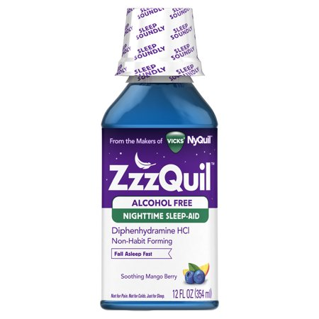ZzzQuil Nighttime Sleep Aid Alcohol Free Liquid by Vicks, Soothing Mango Berry Flavor, 12 Fl Oz