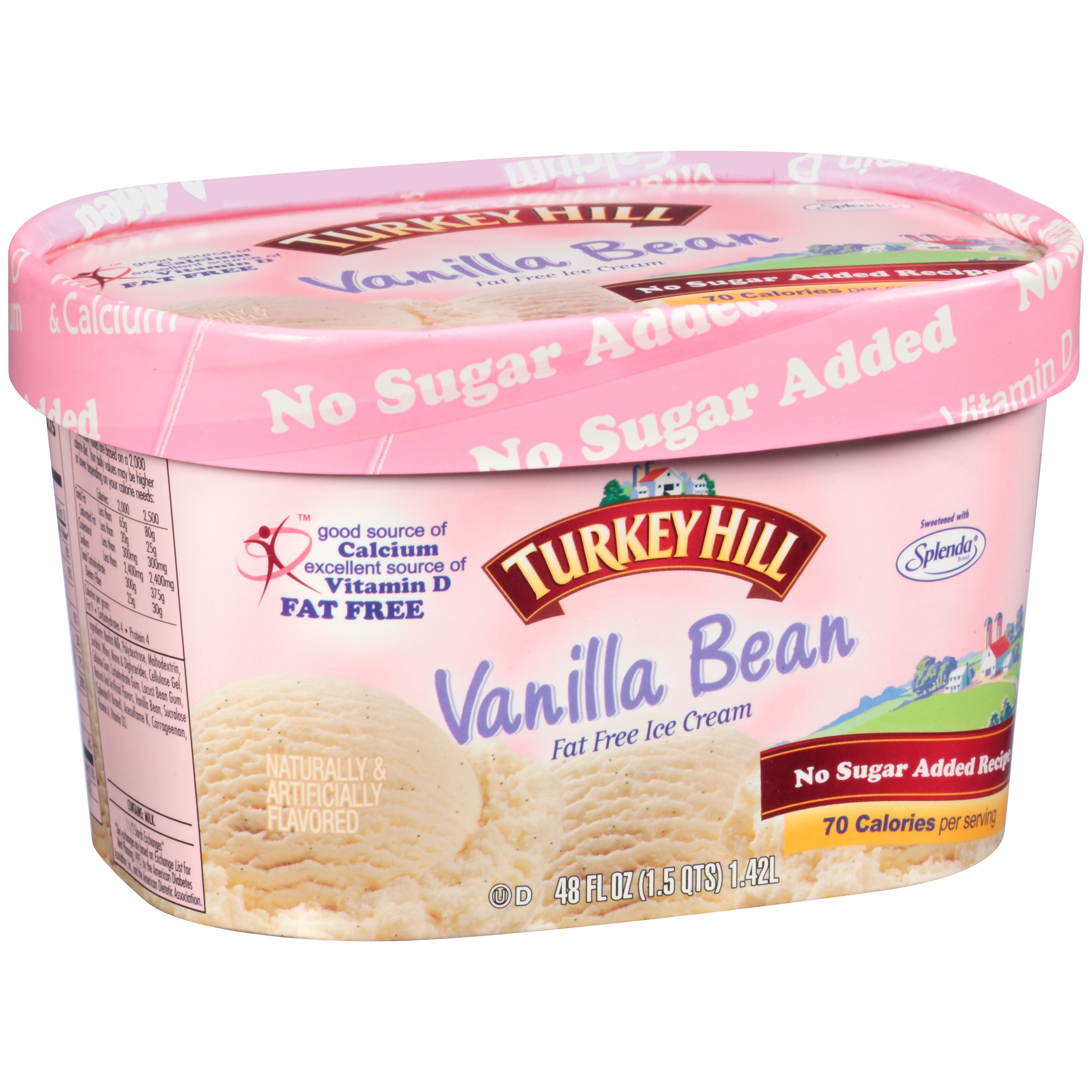 Turkey Hill Vanilla Bean Fat Free No Sugar Added Recipe Ice Cream 48 fl. oz. Tub
