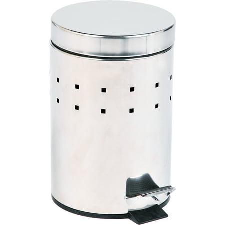 Round Perforated Metal Bathroom Floor Step Trash Can 3-Liters/0.8-Gal