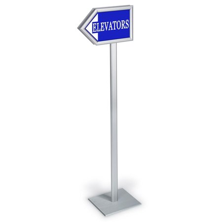 "54.75""h Directional Arrow Sign with Front-Loading Frames, Double-Sided, Lobby Directory Stand - Silver Aluminum (ARWSX28511)"