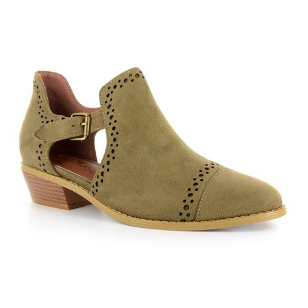Corkys Womens Solo Laser Cut Transitional Suede Booties (Khaki, 6)