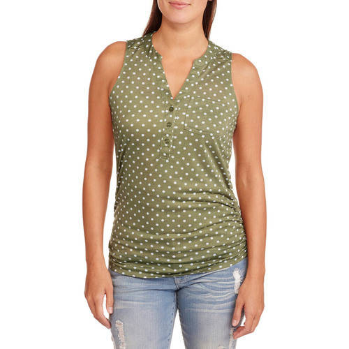 Women's Polka Dot Sleeveless Knit Henley Top