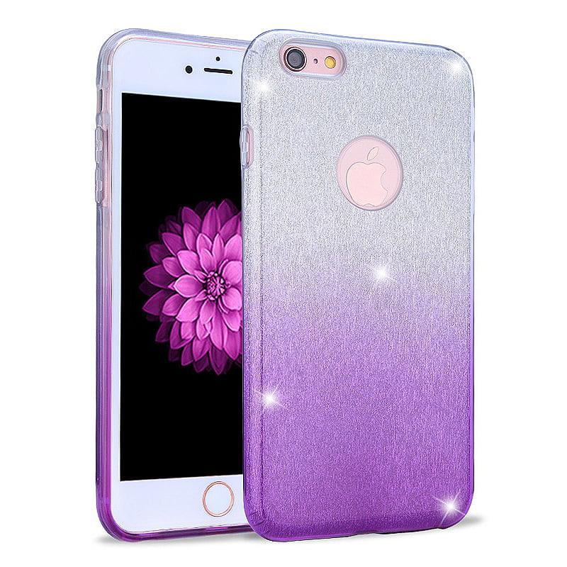 Apple IPhone 6 / 6S Full Body Hybrid Glitter TPU Case Cover Gradient Purple - Walmart.com