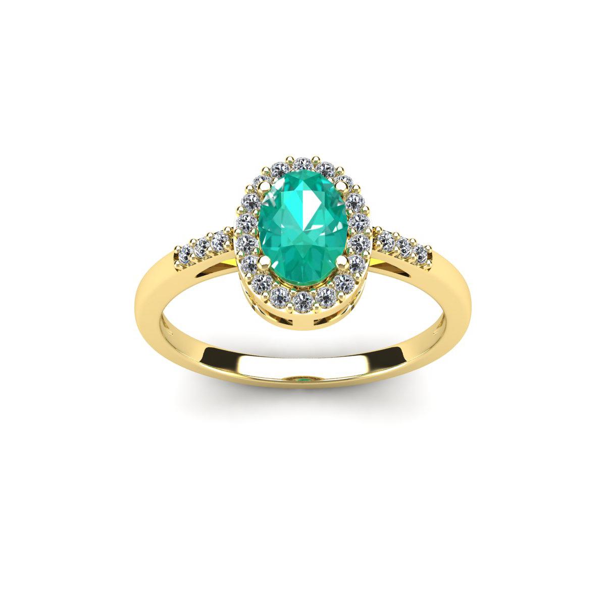 SuperJeweler 1 Carat Oval Shape Emerald and Halo Diamond ...