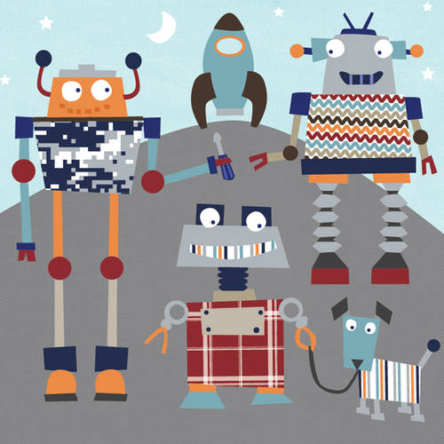 Oopsy Daisy Too's Robot Friends Canvas Wall Art Size 21x21