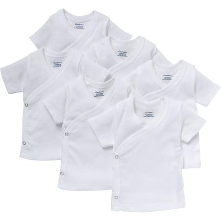 Newborn Pack (Gerber Newborn Baby White Short Sleeve Side Snap Shirt, 6-Pack )