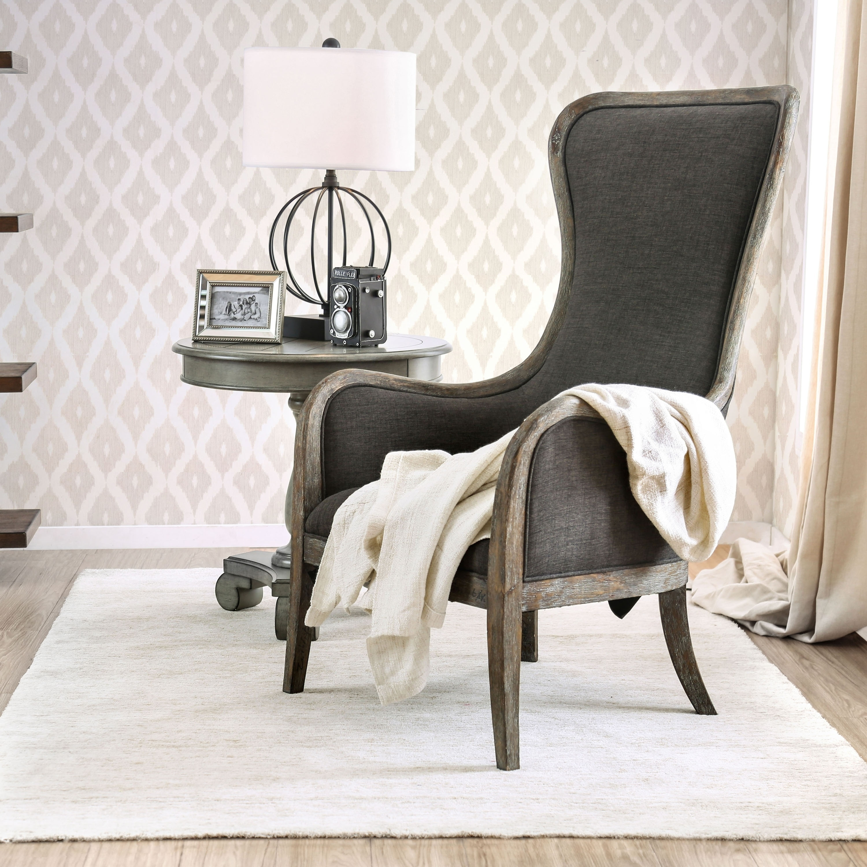 Pleasing Furniture Of America Lysa Shabby Chic Grey Wingback Accent Chair By Foa Bralicious Painted Fabric Chair Ideas Braliciousco