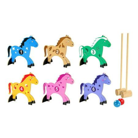Kids Croquet Set Wooden Animals 10 Piece Set
