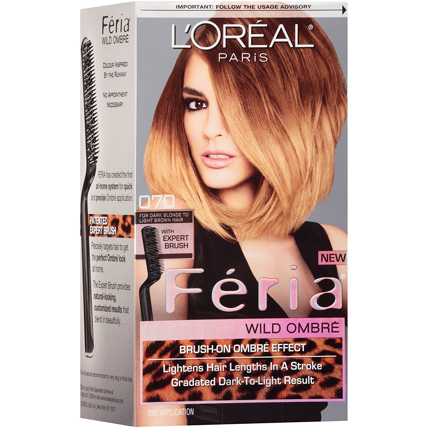 Feria Brush-on Ombre Effect Hair Color, O70 Wild Ombre for Dark Blonde to Light Brown Hair (Packaging May Vary) By LOreal Paris