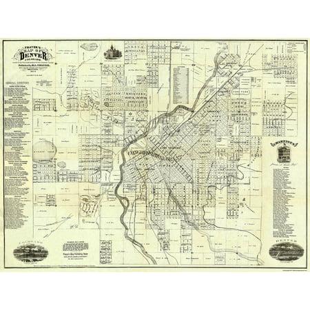 Old City Map - Denver Colorado Landowner - 1879 - 30.44 x 23 ...