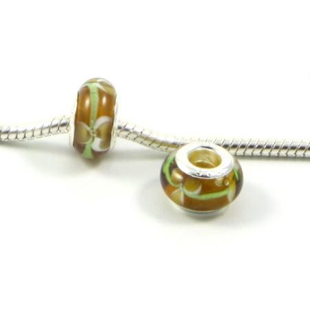 3 Beads - Yellow w Green White Flowers Lampwork Glass Silver European Bead Charm E0499 Glass Beaded Flowers