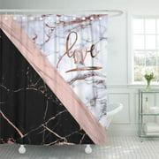 CYNLON Pink White Rose Marble Love Gold Black Stripe Bathroom Decor Bath Shower Curtain 66x72 inch