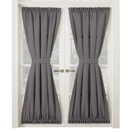 Montego Door Curtain Panel, French Door Drapes, Middle Tie Back, Rod Pocket, Solid Color](Curtains For Door)