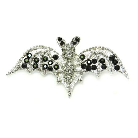 Vintage Halloween Pins (Black Rhinestone Crystal Bat Pin Brooch For Halloween -)