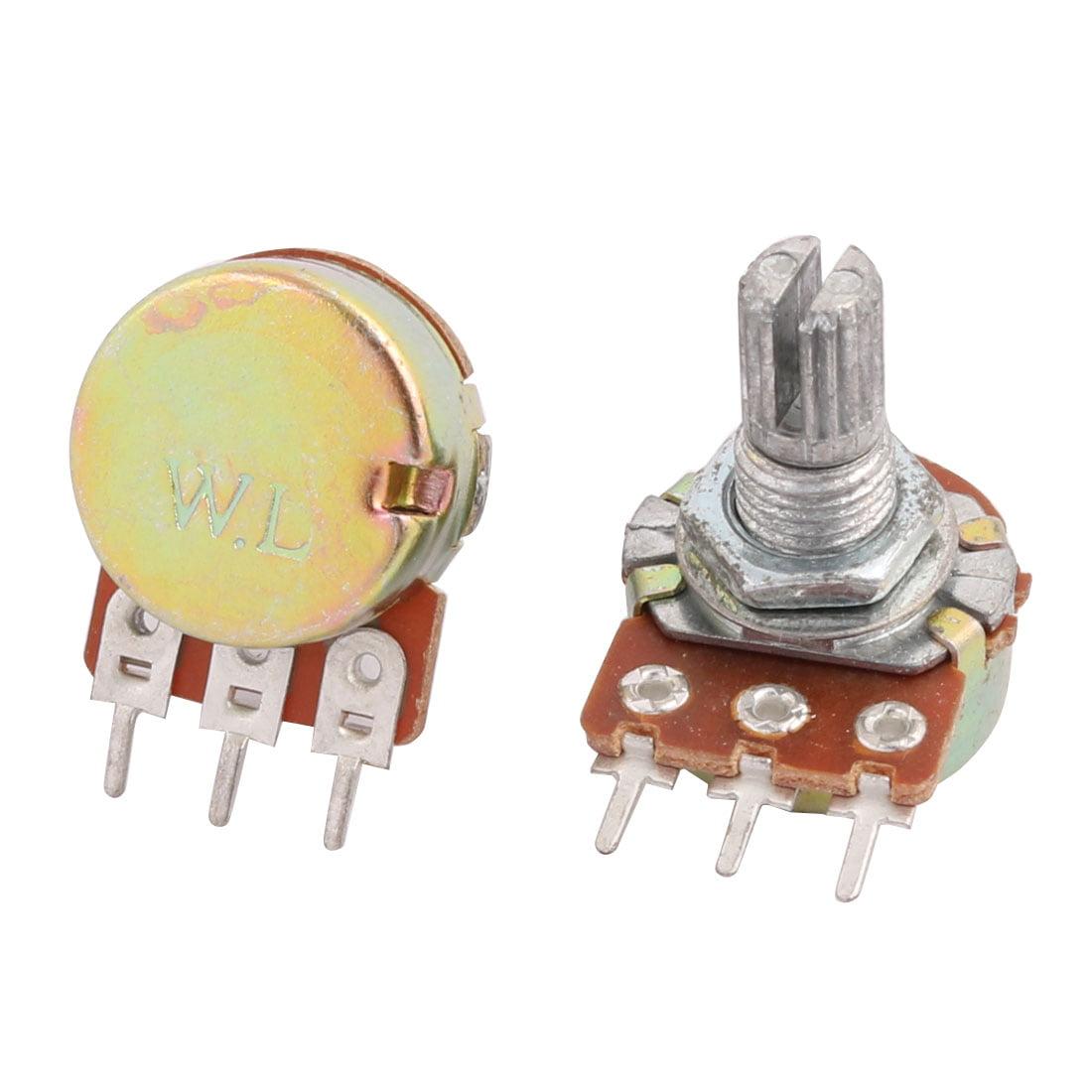 B50K 50K Ohm Adjustment Single Linear Rotary Taper Potentiometer 5 Pcs