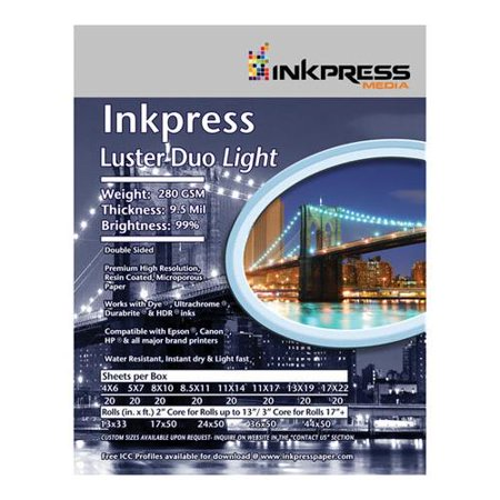 - Inkpress Luster Duo, Double Sided Inkjet Paper, 99% Bright, 280 gsm, 9.5 mil., 10