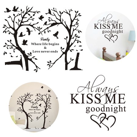 2 Sheets Wall Sticker Decorative Letter Tree Wall Art Decal Quotes Wall Decoration for Home Living Room