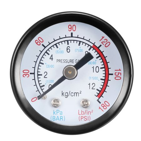 """Pressure Gauge , 0-180 Psi/0-12 Bar Dual Scale , 1.4"""" Dial Display , 1/8"""" NPT Male Center Back Mount , with Aluminium Al - image 4 of 4"""
